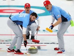 Curlers Matt Hamilton, John Shuster, John Landsteiner.