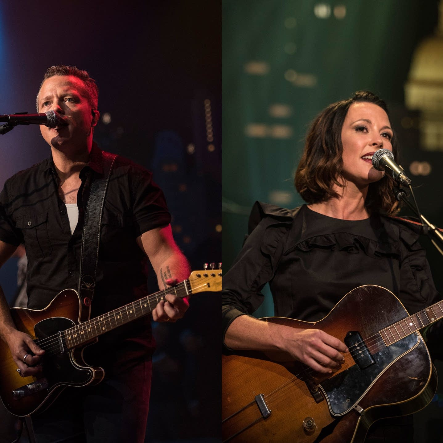 Jason Isbell and Amanda Shires, each performing on Austin City Limits