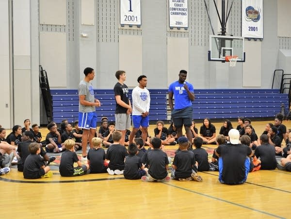Duke basketball star Zion Williamson speaks to kids at the Emily K Center.