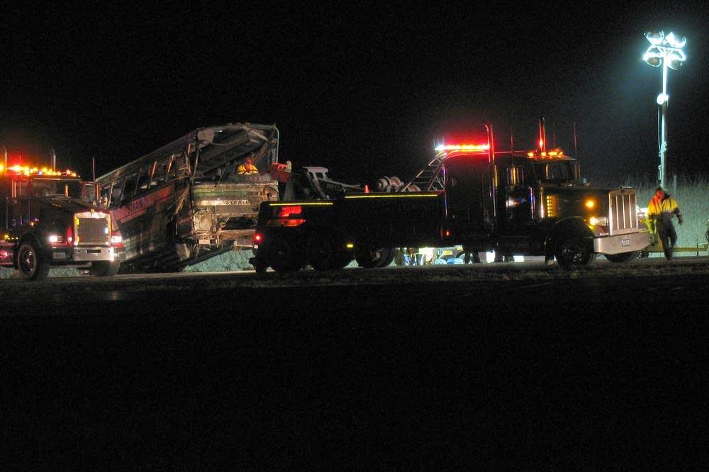 Bus towed away