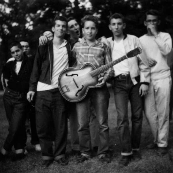 Bob Dylan is at center in a group of Herzl campers in 1957.