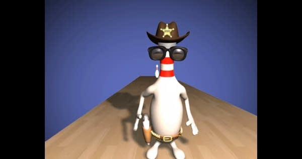 Animation still of bowling pin in cowboy hat and sunglasses