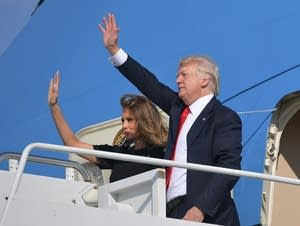 President Trump and First Lady Melania Trump board Air Force One