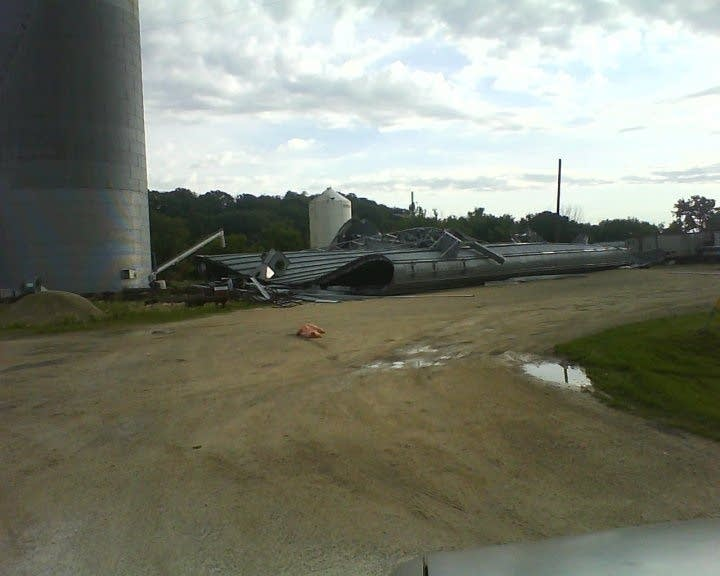 Silo flattened in St. Charles