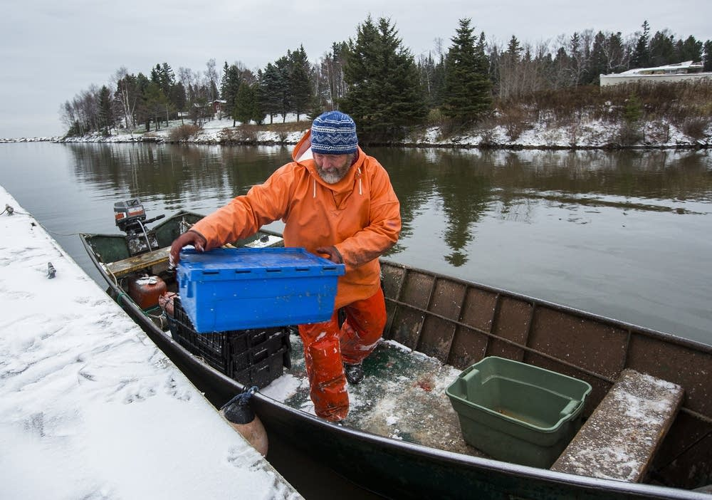 Fisherman Steve Dahl unloads fish.