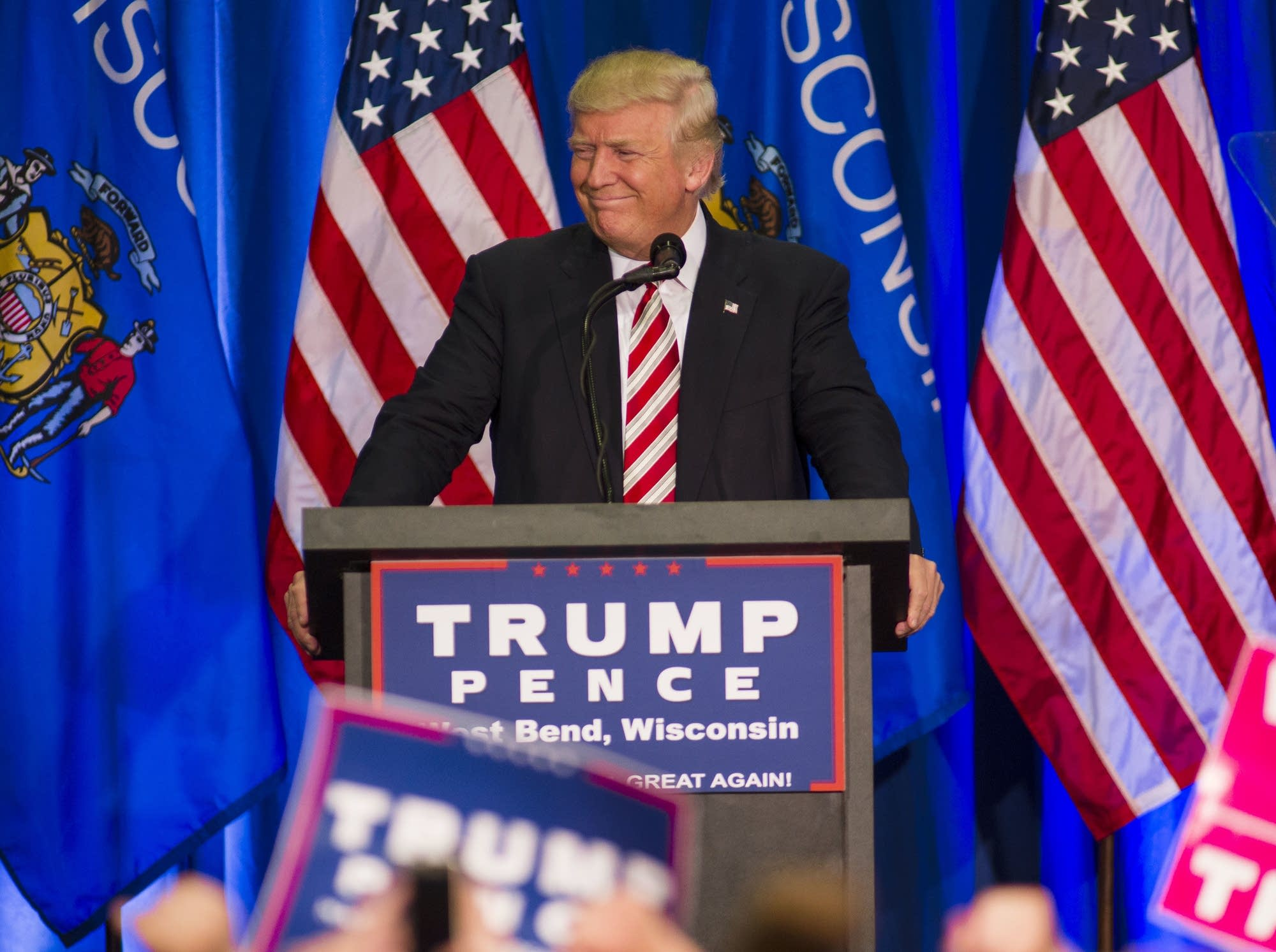 Donald Trump holds a rally in West Bend, Wis.