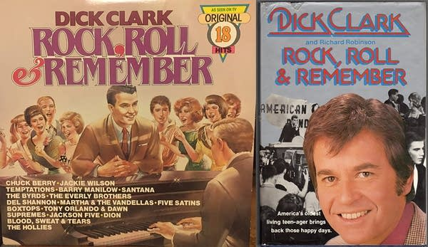 """A record cover and cassette cover for """"Dick Clark's Rock, Roll & Remember"""""""