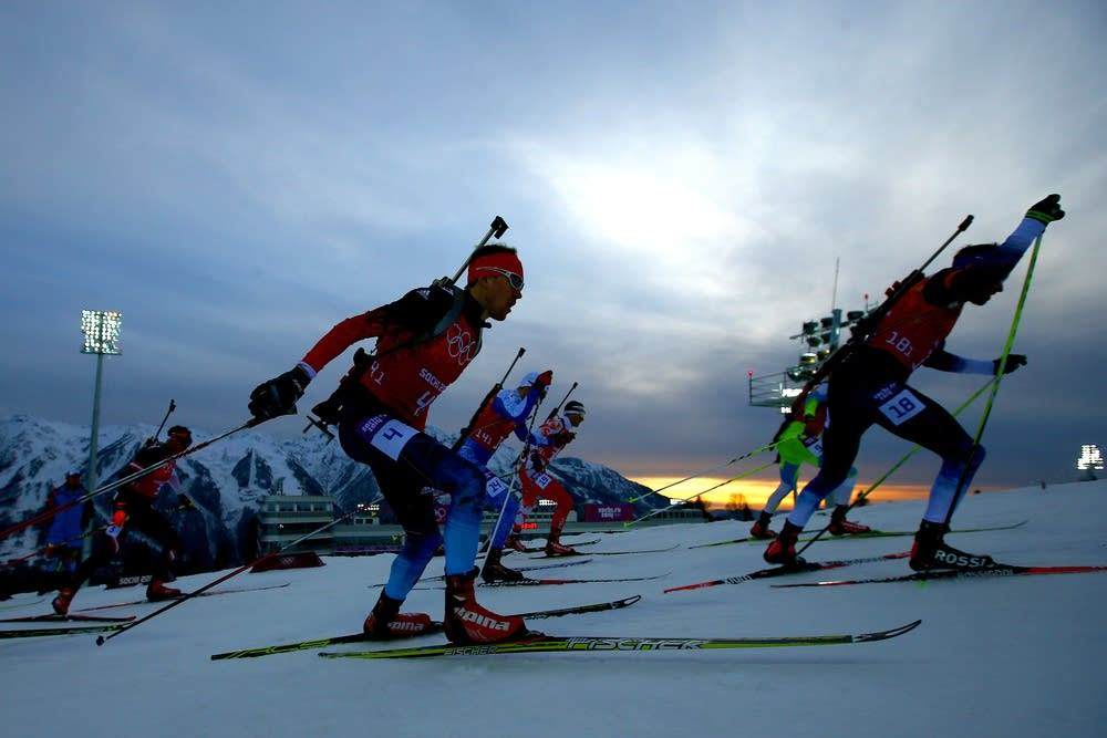 Anton Shipulin of Russia competes