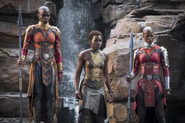 Danai Gurira, Lupita Nyong'o and Florence Kasumba in the Black Panther.