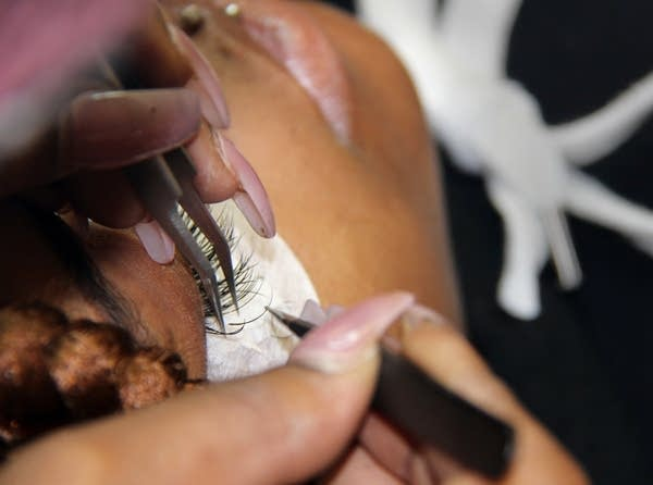 Rodneshia Hawkins gets a bi-monthly fill of her eyelashes done.