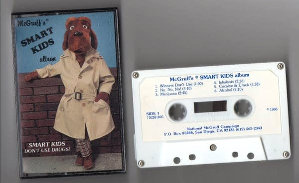 "Cassette tape and cover of ""McGruff's Smart Kids Album"" (Dog in trenchcoat)"
