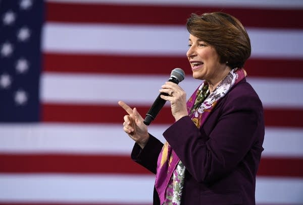 U.S. Sen. Amy Klobuchar speaks at a forum on wages.