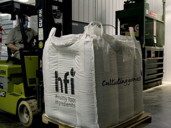 large bags are transported with a forklift