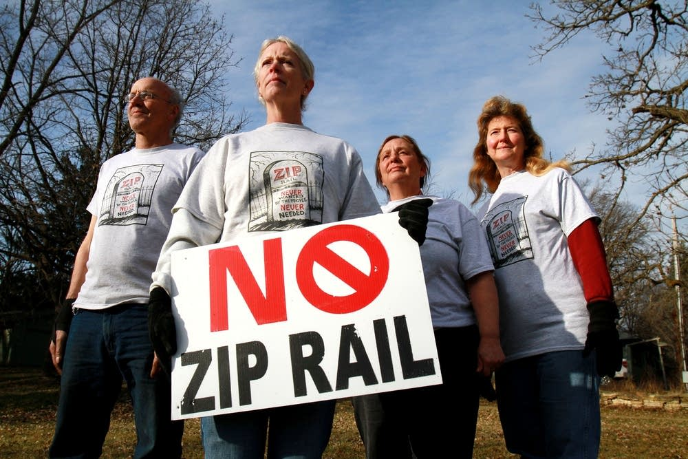 Residents who object to proposed rail line.