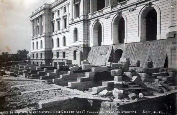 Foundation to main stairway, Capitol, 1901