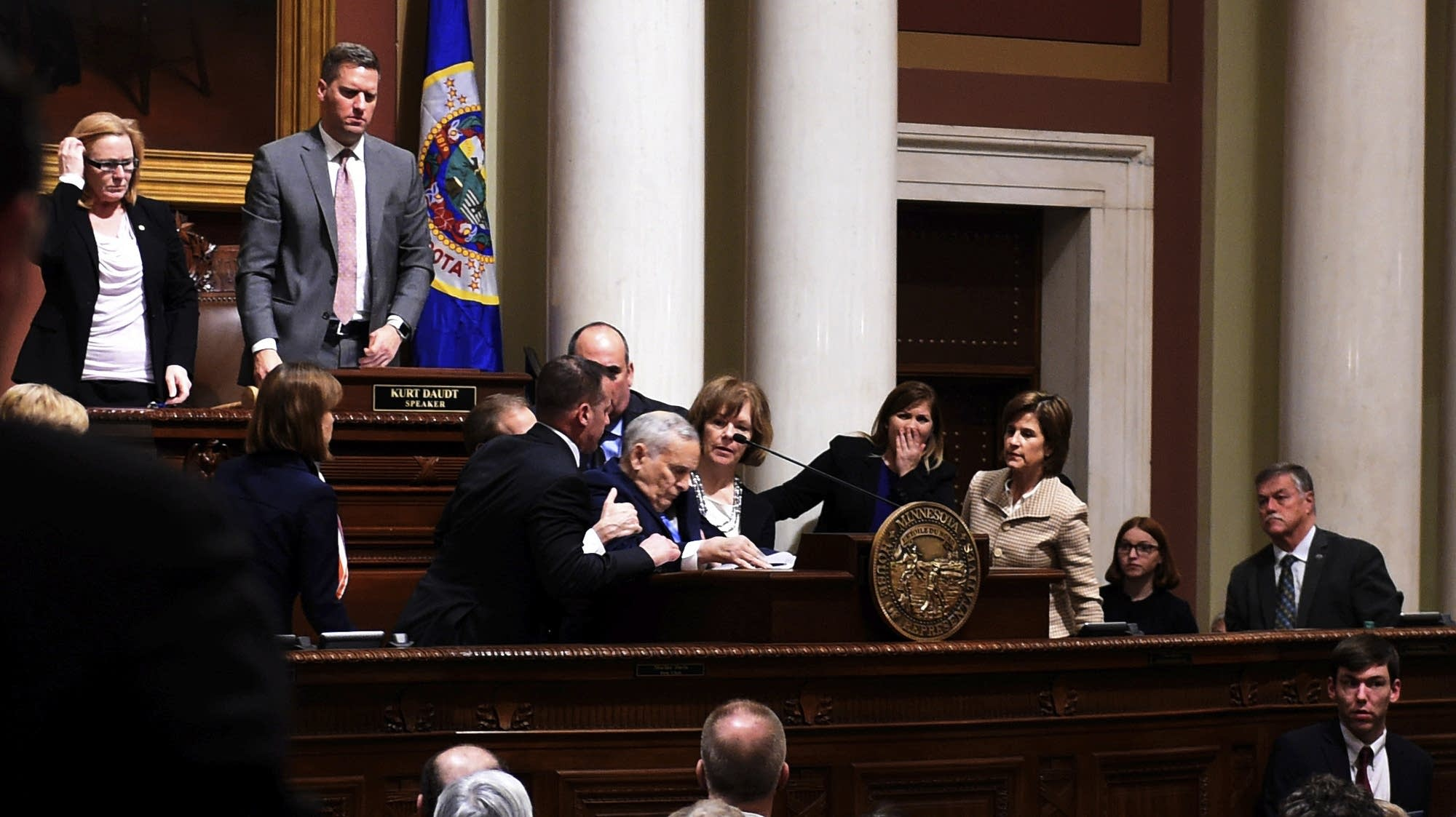 Gov. Mark Dayton collapses while giving his State of the State address.