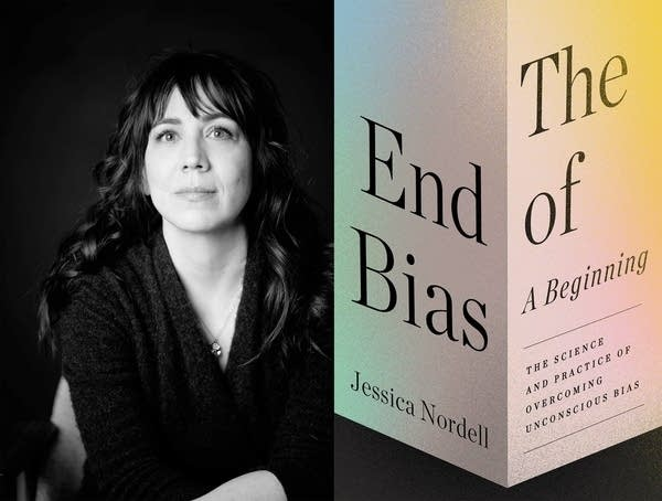 A black and white portrait of a woman next to the cover of a book.