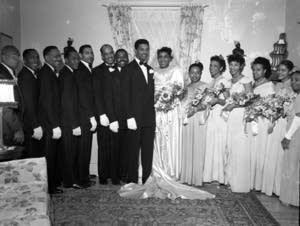 A wedding, Wayne Glanton is third from the left.