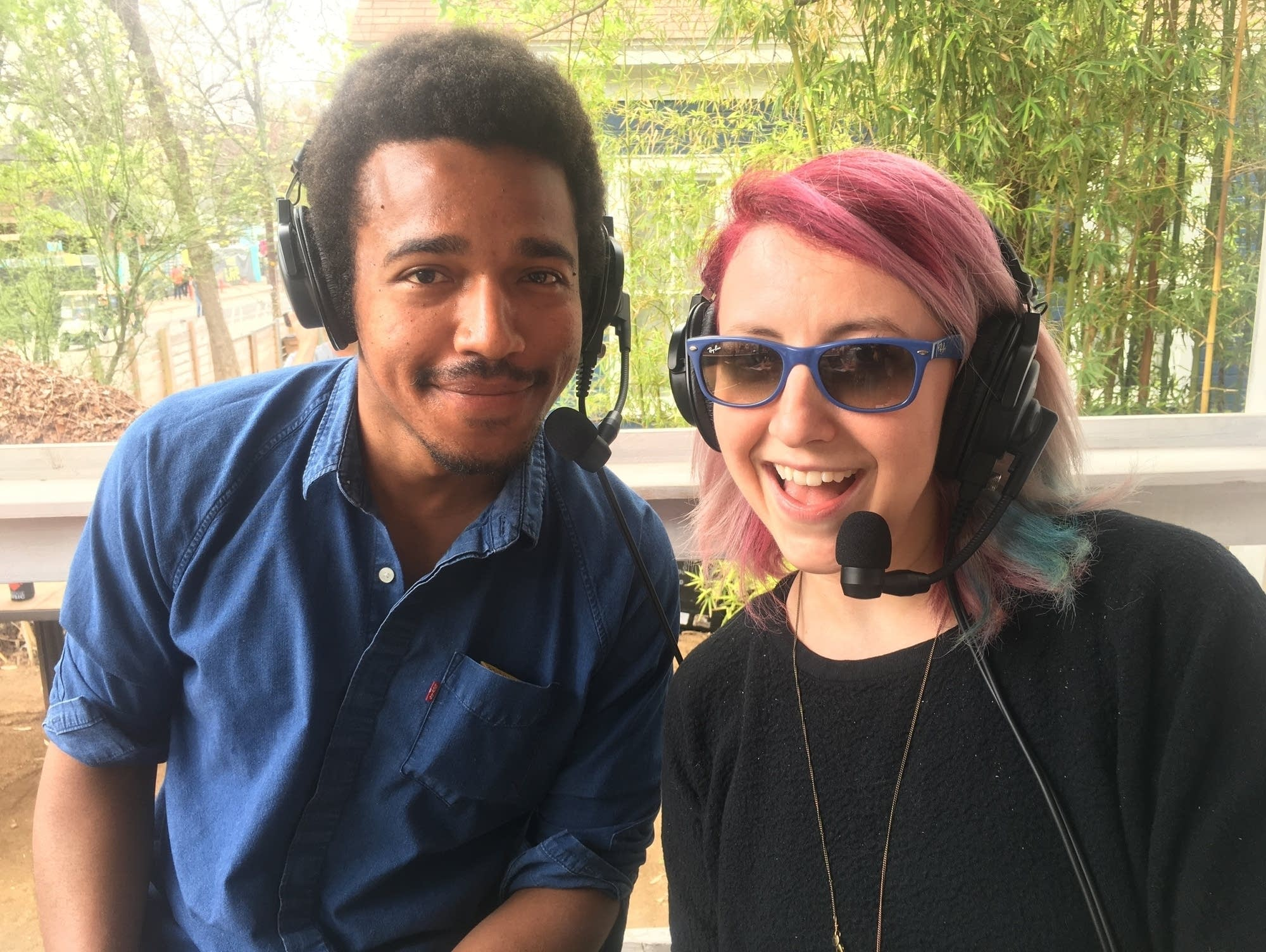 Benjamin Booker and Jade show off their nifty headsets