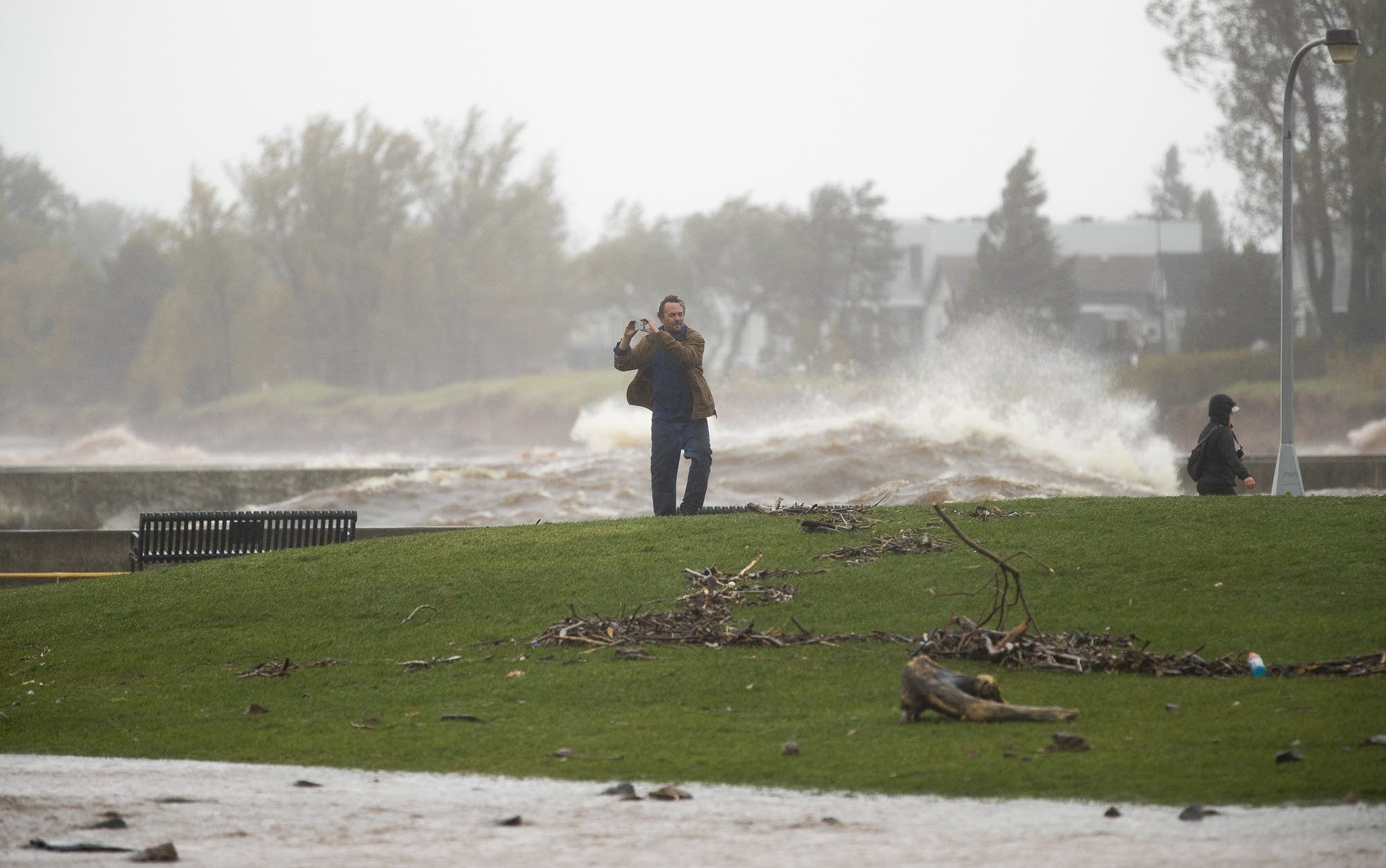 Debris litters the ground in Canal Park