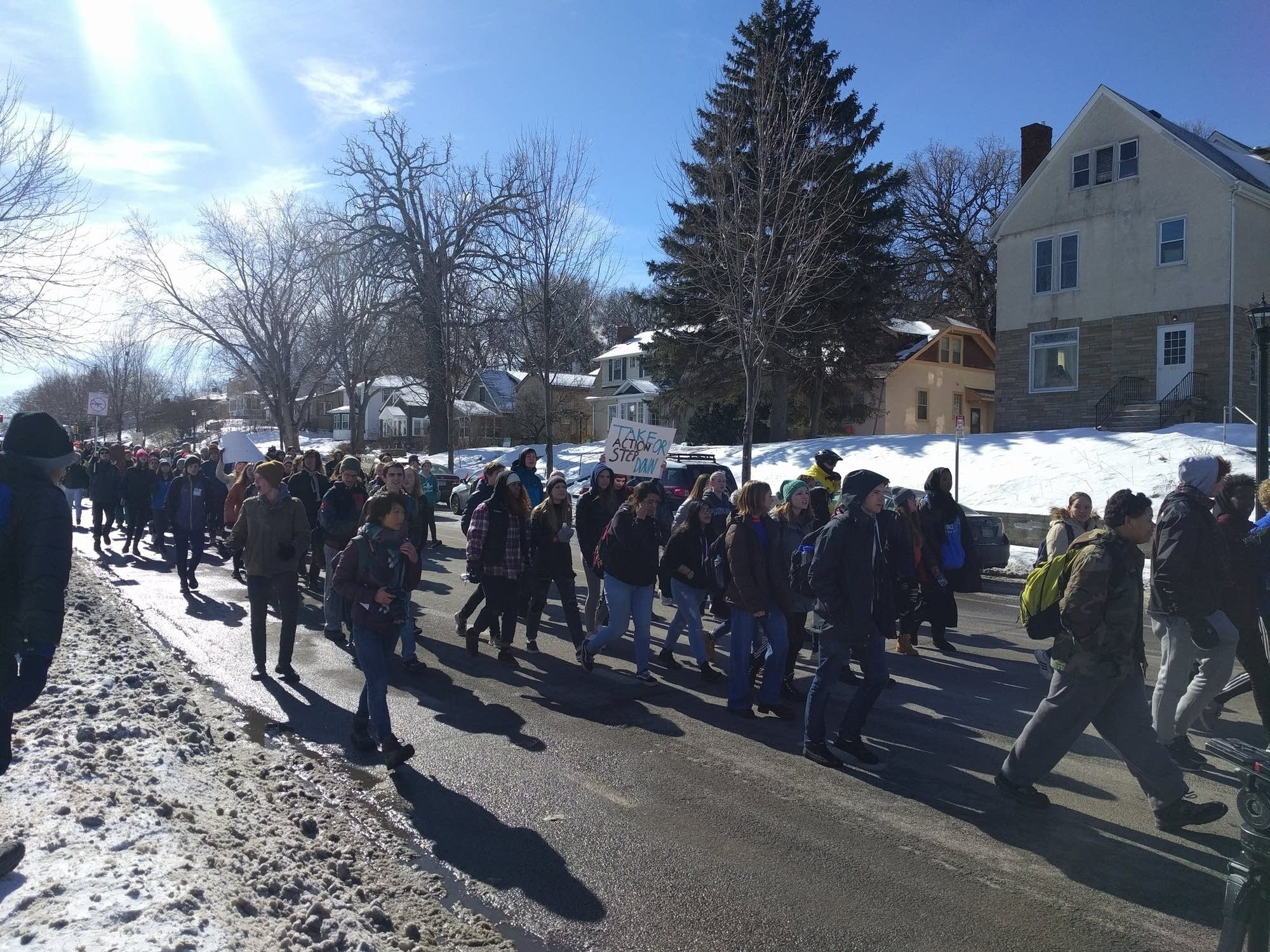 Hundreds of students rallied at Martin Luther King Jr park.