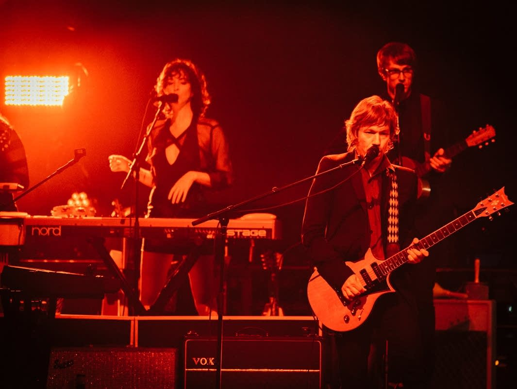 Beck's band perform at the Palace Theatre.