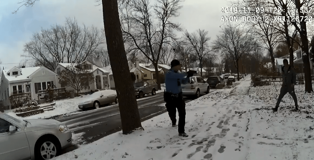 A screenshot from body camera footage.