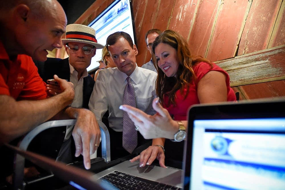 Johnson's campaign staff watches results