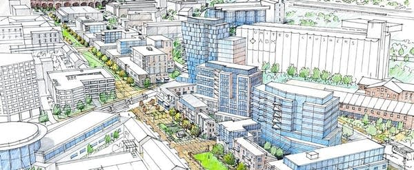 A rendering shows the Towerside Innovation District