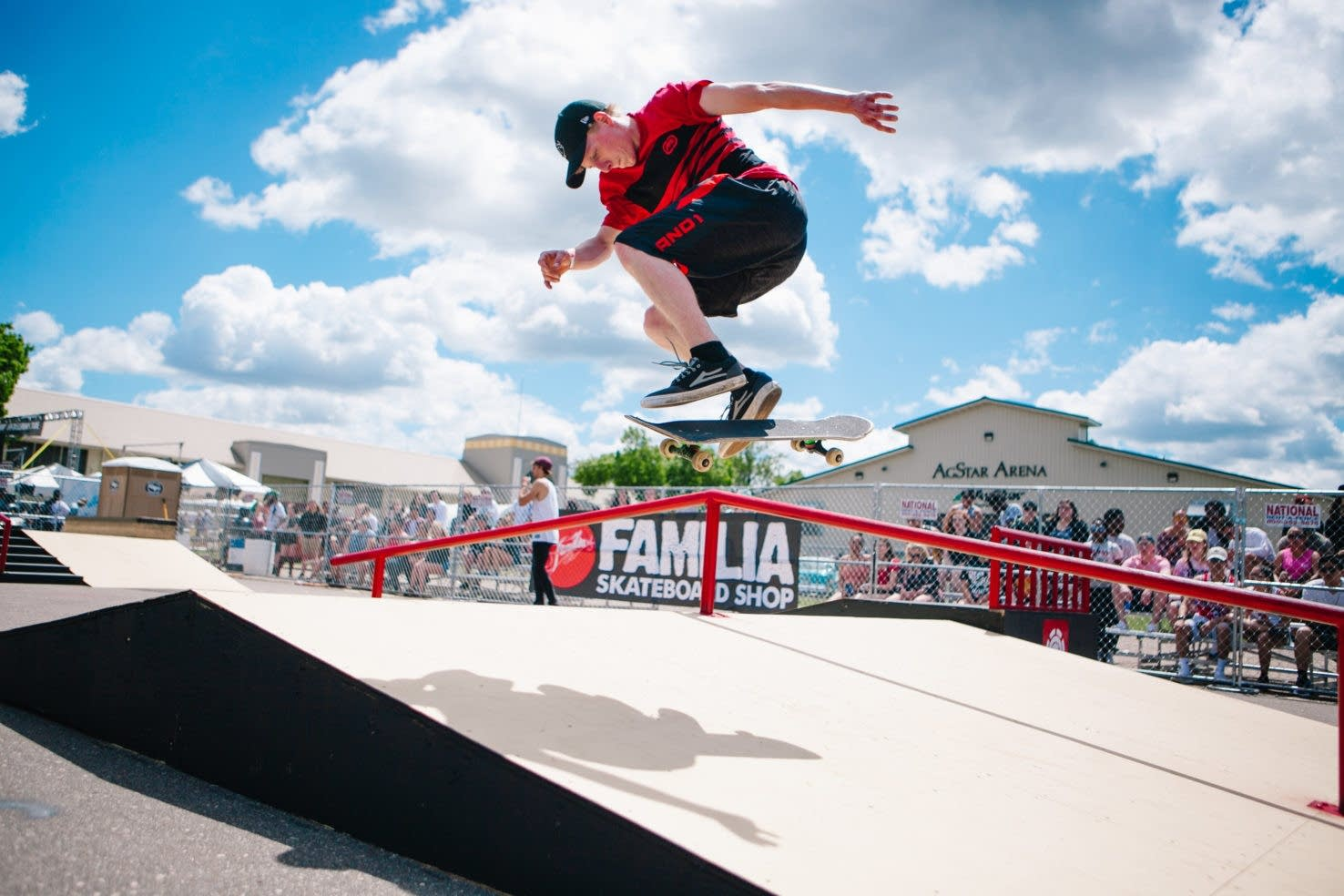 A skateboarder at the Soundset Skateboard Showdown in 2017.