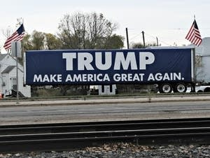 A Trump sign sits along Hwy. 2 in Erskine.