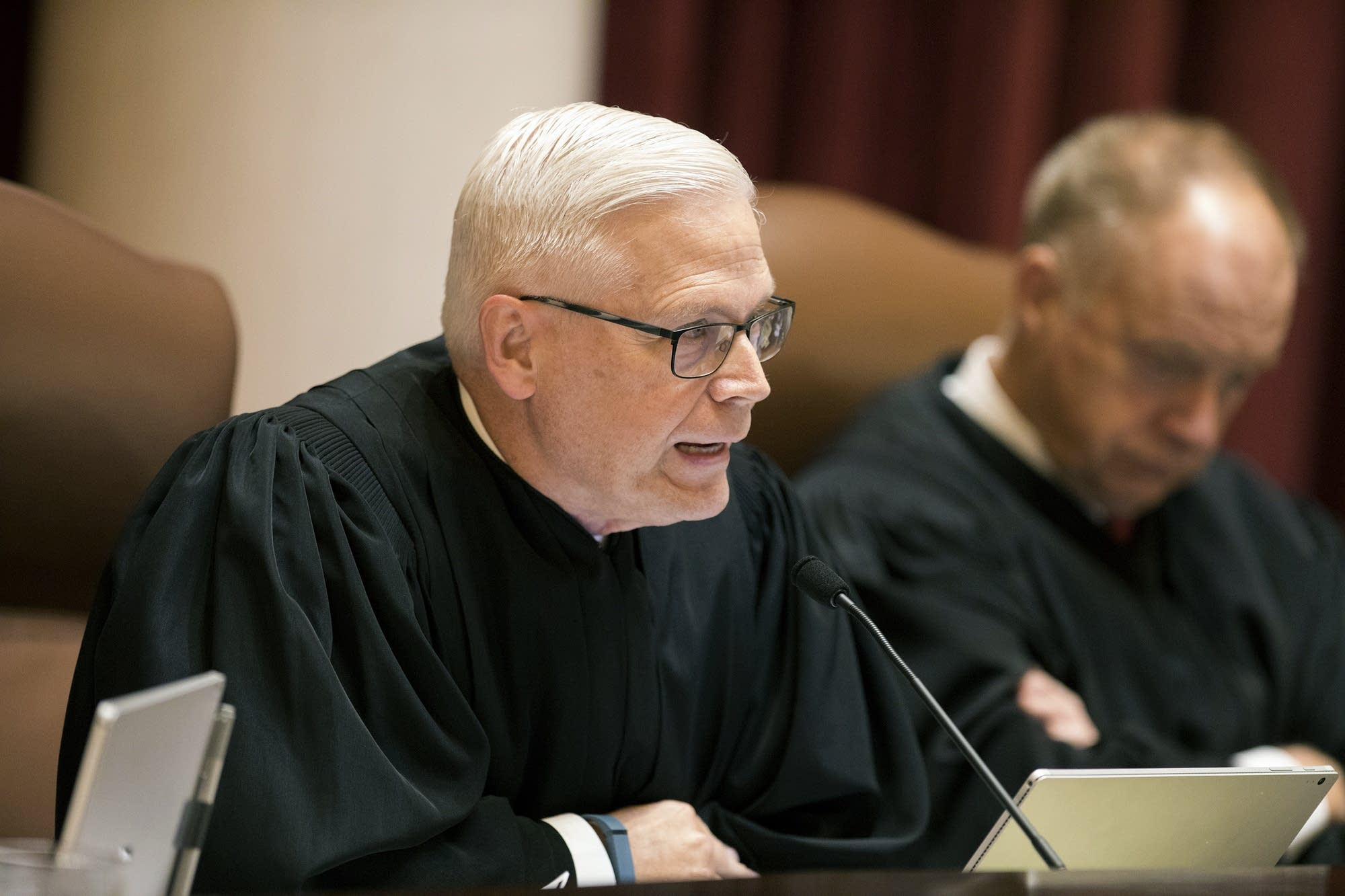 Minnesota Supreme Court Justice David L. Lillehaug asks questions.