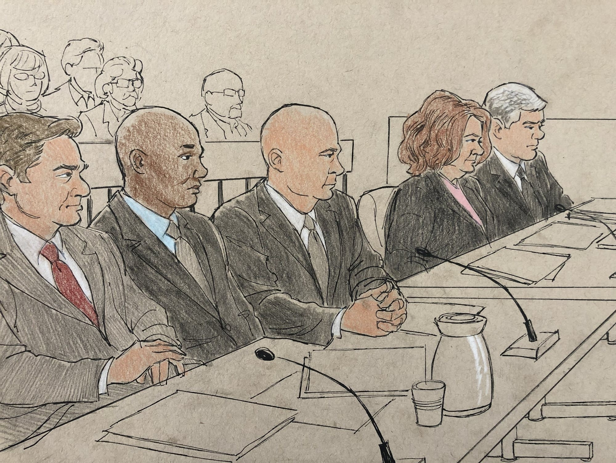 Ex-Mpls. cop Mohamed Noor (second from left) during his trial on April 10.