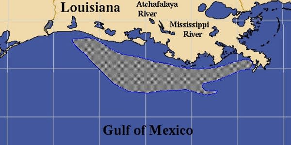Map of the gulf's dead zone