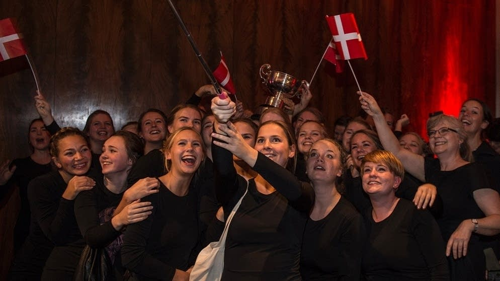 Aarhus Girls' Chorus celebrate their win.