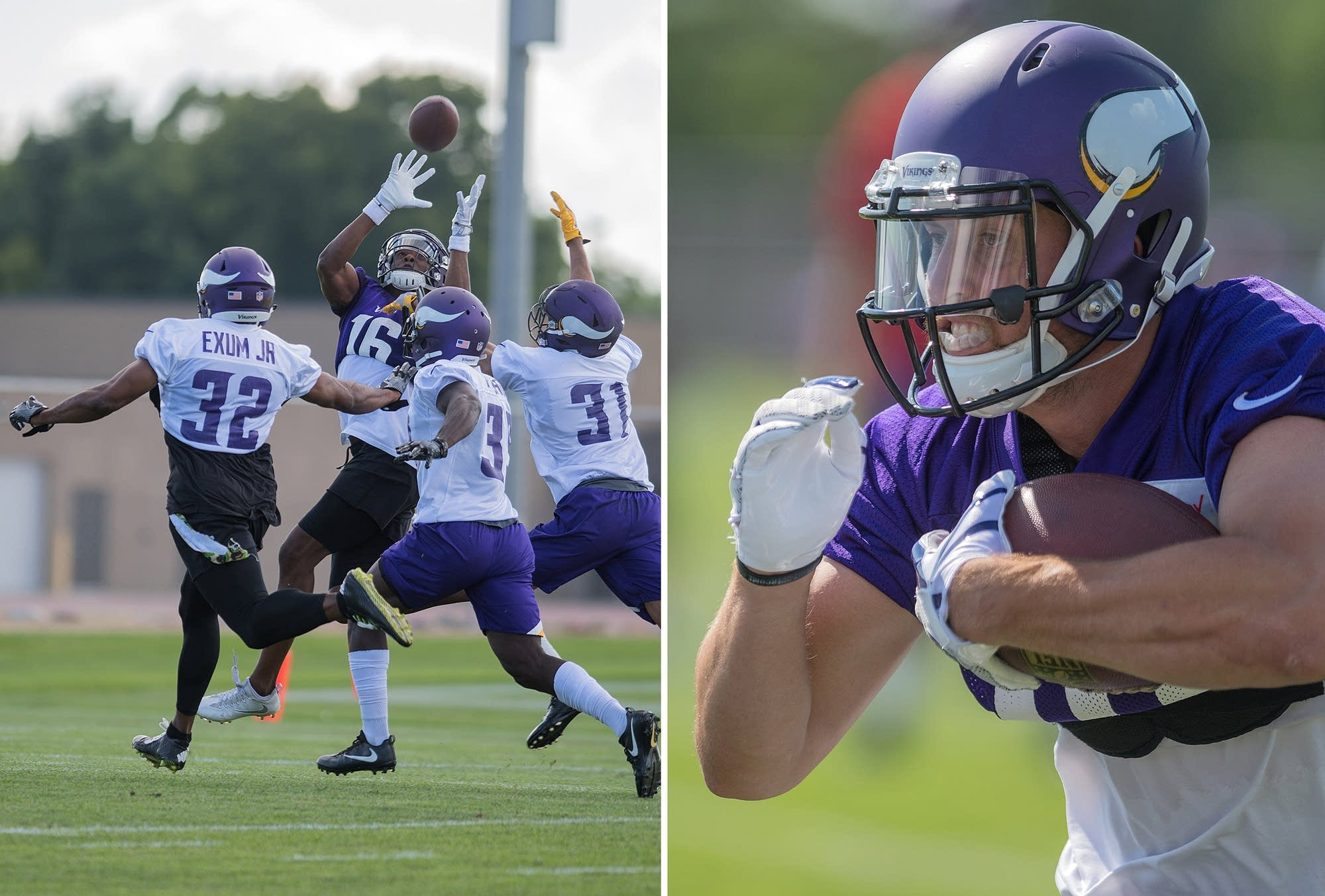 Left: Wide receiver Cayleb Jones makes a catch. Right: Adam Thielen.