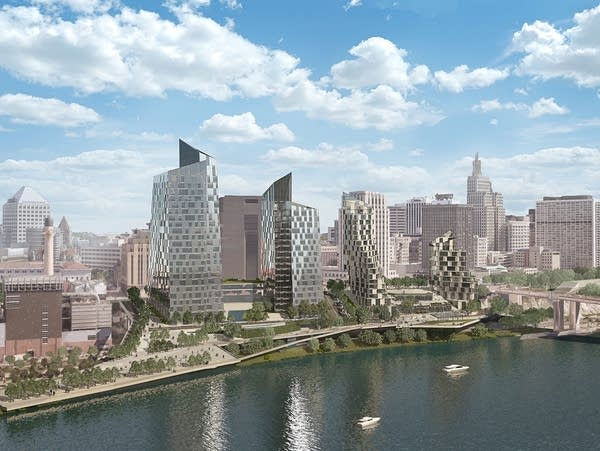 Rendering of proposed St. Paul redevelopment, view from Mississippi River.