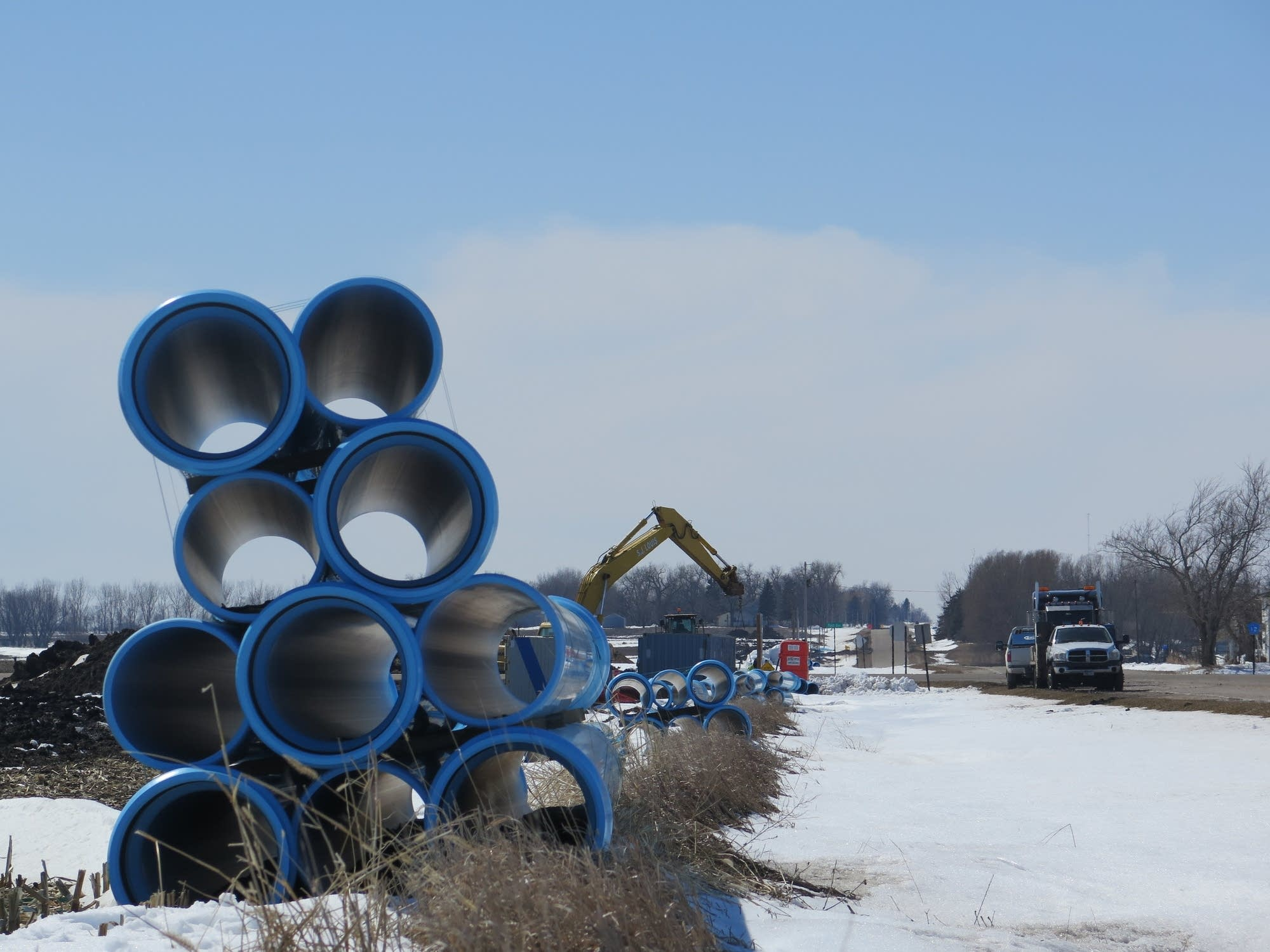 Pipes are stacked near Worthington, Minn., last week.