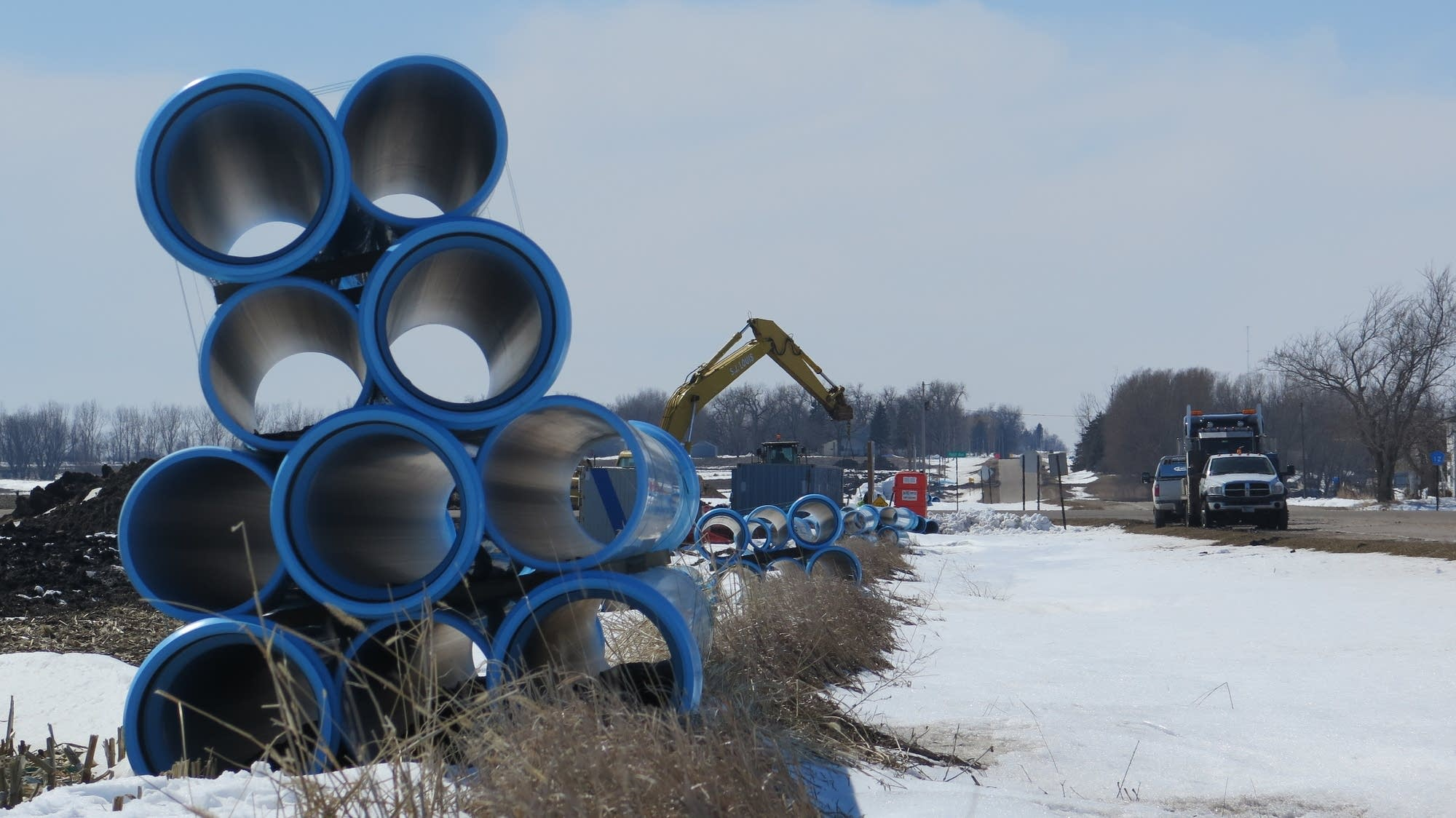Pipes are stacked near Worthington, Minn.