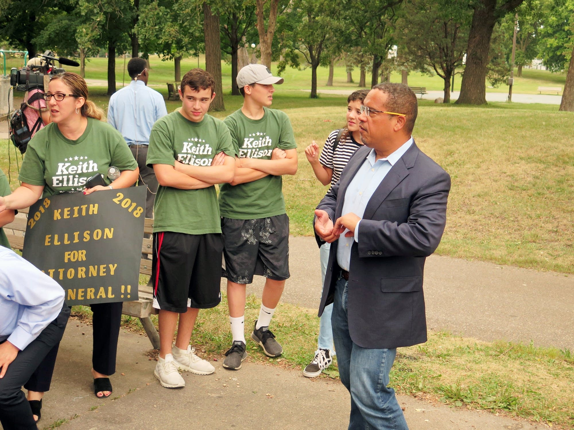 Keith Ellison (right) was back on the campaign trail in north Minneapolis