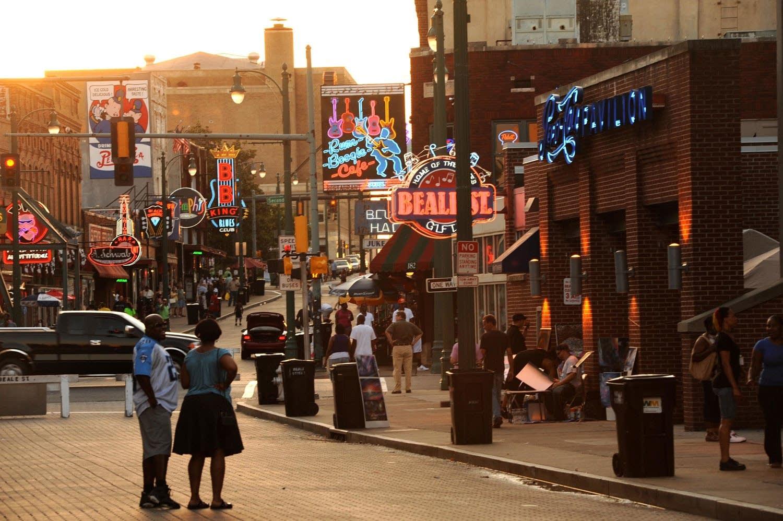 Looking west on Beale Street in Memphis