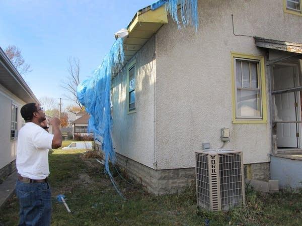 Prince Jeter's damaged roof