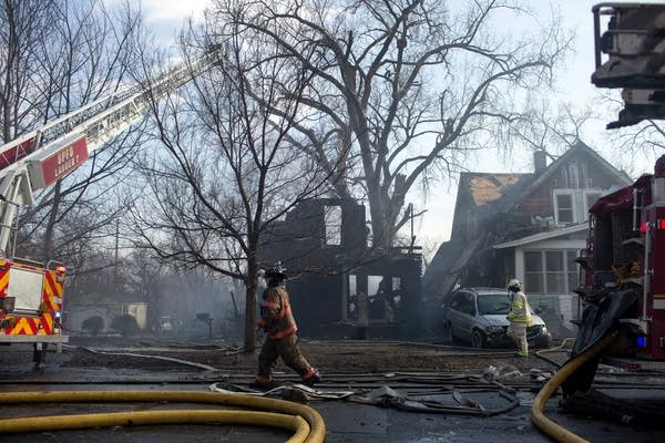 A fire destroyed several homes.