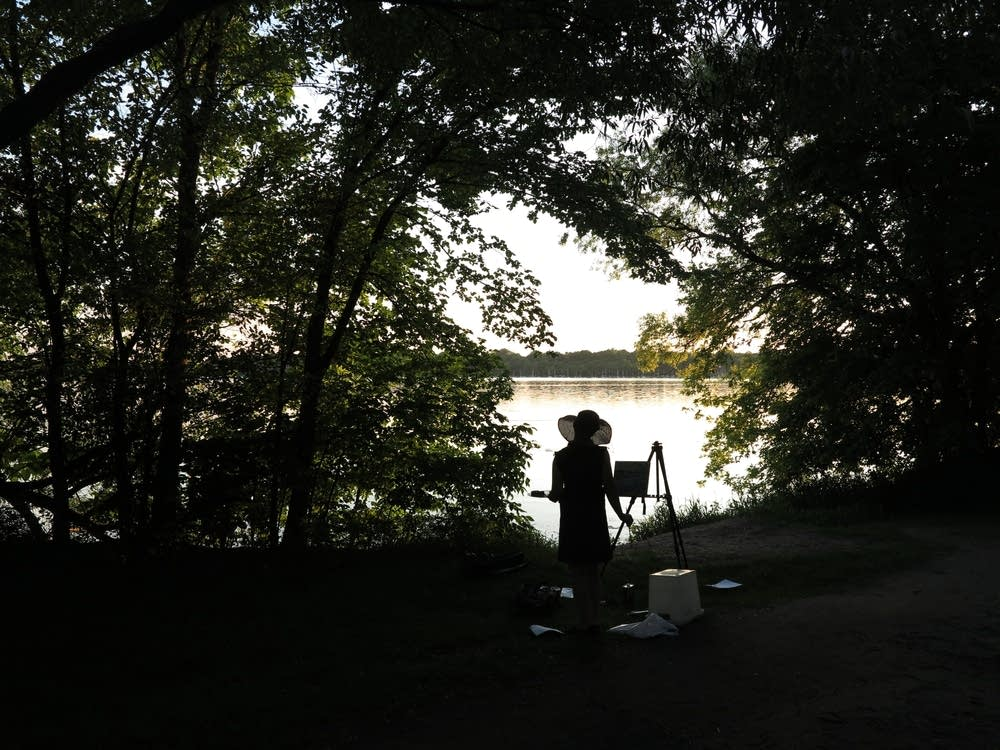 Painting beside Lake Harriet