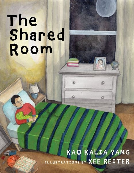 A book cover with an illustration of a child in a bed.