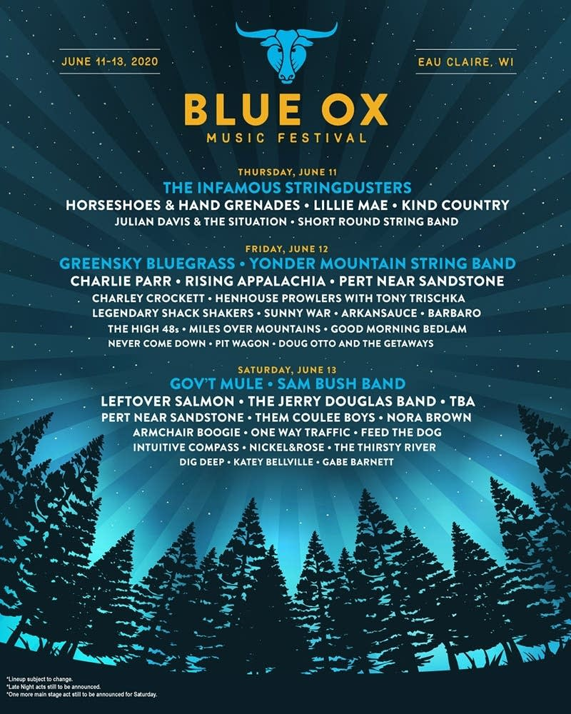 Blue Ox Music Festival 2020 Daily Line up