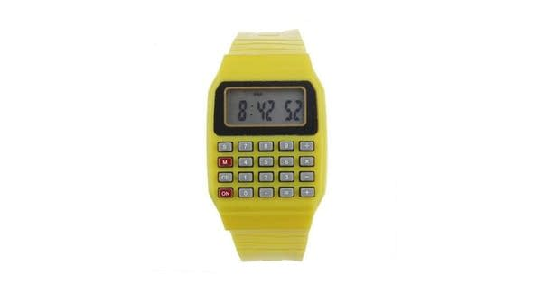 A yellow calculator watch from the 1980s
