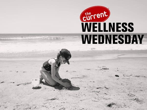 Black and white image of child on beach, with Wellness Wednesday logo.