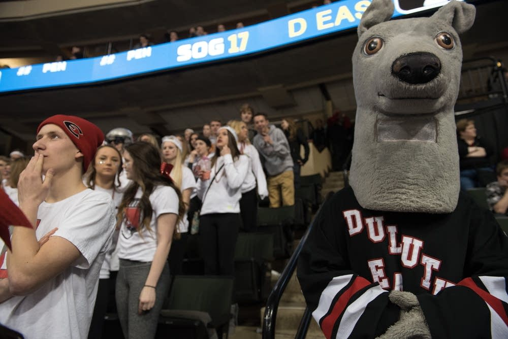 The Duluth East greyhound mascot