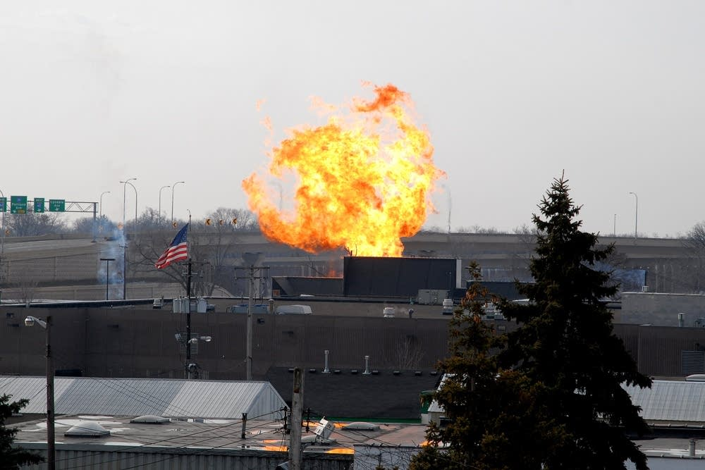 A gas-fueled fire burned in Minneapolis